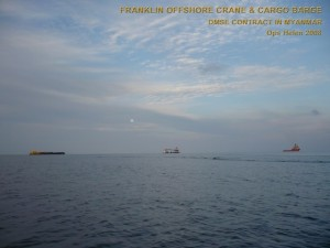 Franklin Crane & Cargo Barges - DSME Contract in Myanmar - Ops Helen 2008 SC